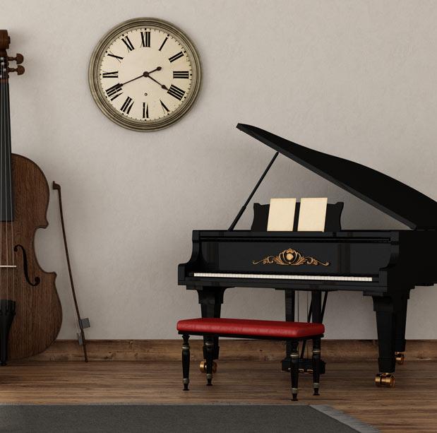 grand piano in music room